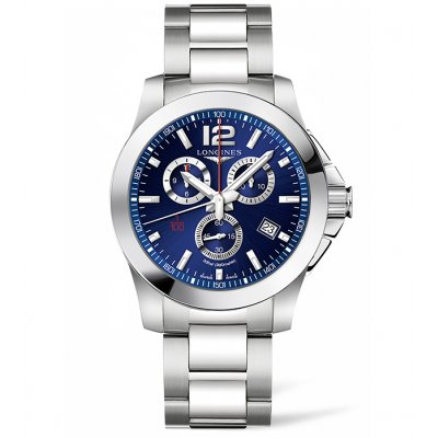 Longines Conquest L38004966 Water resistance 300M, Quartz Chronograph, 44 mm